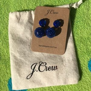 J Crew blue crystal ball earrings